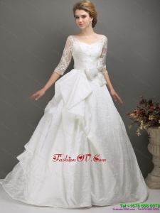 2015 Pretty A Line Wedding Dress with Lace and Bowknot