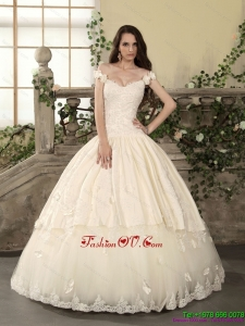 2015 The Super Hot Off The Shoulder Lace Wedding Dress with Floor Length