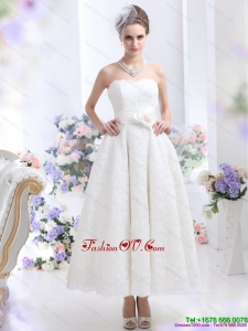 Brand New Strapless Ankle-length Wedding Dress with Hand Made Flowers