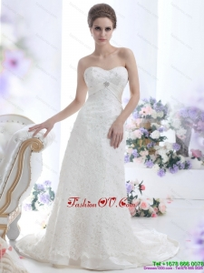 Pretty White Sweetheart Beading Wedding Dresses with Brush Train