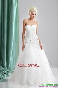 2015 High End Sweetheart Beaded Wedding Dresses in White