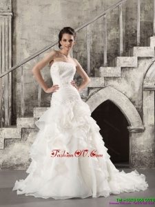 2015 High End White Strapless Bridal Gowns with Brush Train and Ruffles