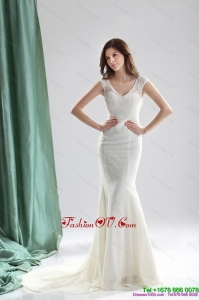 2015 High End White Wedding Dresses with Lace and Brush Train