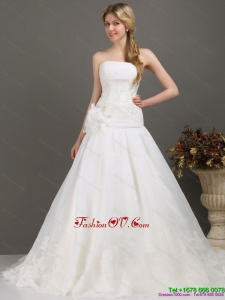 High End Beaded White Wedding Dresses with Brush Train and Hand Made Flower