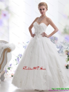 High End Beading Sweetheart White Wedding Dresses for 2015