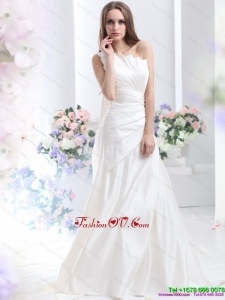 High End Pleated One Shoulder White Wedding Dresses with Brush Train