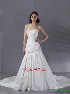 High End Ruched Beaded White Wedding Dresses with Chapel Train
