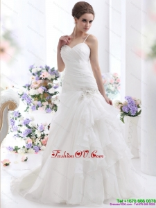 High End Ruched White Wedding Dresses with Brush Train and Appliques