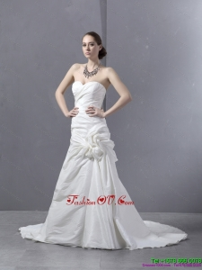 High End Ruffled Sweetheart Ruched White Wedding Dresses with Brush Train