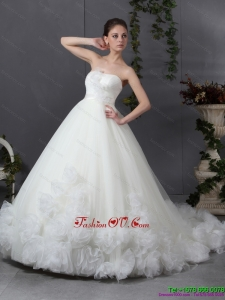 High End Ruffled White Wedding Dresses with Chapel Train