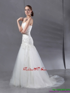 High End Ruffled White Wedding Dresses with Sequins and Brush Train
