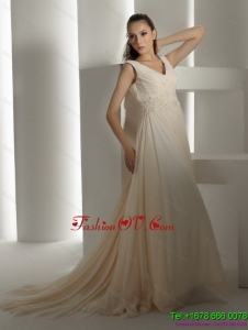 High End Ruffles and Beading White Wedding Dresses with Brush Train