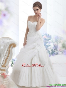 High End Strapless Ruffles and Beading White Bridal Gowns for 2015