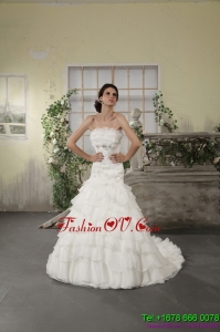 High End Strapless White Bridal Gowns with Ruffled Layers and Court Train