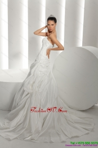 High End White Brush Train Strapless 2015 Bridal Dresses with Ruffles