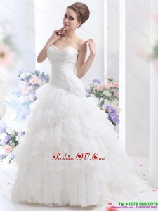 High End White Brush Train Wedding Dresses with Ruffled Layers and Sequin