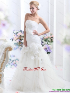 High End White BrushTrain Strapless Bridal Gowns with Ruching and Hand Made Flowers