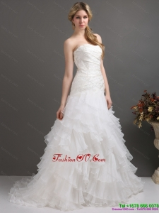 High End White Strapless Pleated Wedding Dresses with Ruffled Layers