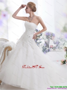 High End White Strapless Wedding Dresses with Sequins and Brush Train