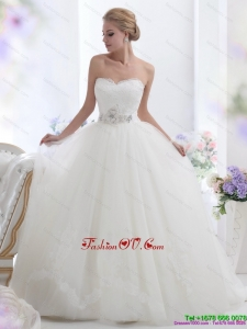 High End White Sweetheart Wedding Dresses with Hand Made Flowers
