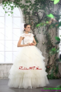 High End White Wedding Dresses with Ruffled Layers and Lace