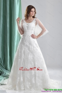 2015 High End A Line Wedding Dress with Beading and Lace