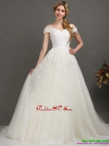 2015 High End Off the Shoulder Wedding Dress with Beading