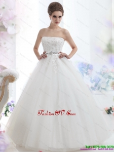 2015 High End Strapless Beading Wedding Dress with Brush Train
