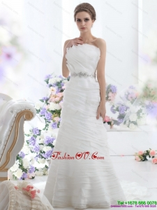 2015 High End Strapless Wedding Dress with Beading and Ruching