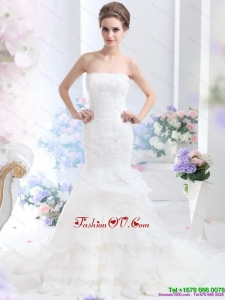 2015 High End Strapless Wedding Dress with Brush Train