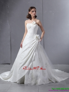 2015 High End Strapless Wedding Dress with Hand Made Flowers and Ruching