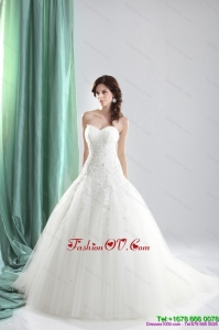2015 High End Sweetheart A Line Wedding Dress with Appliques