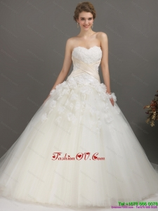 2015 High End Sweetheart Wedding Dress with Appliques