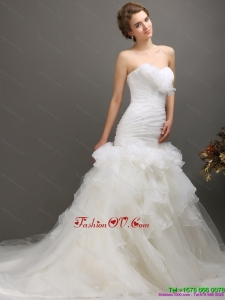2015 High End Sweetheart Wedding Dress with Ruching and Ruffles