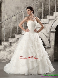 2015 High End Wedding Dress with Beading and Ruffled Layers