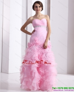Baby Pink Sweetheart Ruching Wedding Dresses with Ruffles and Beading