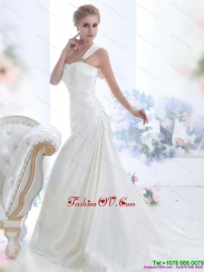 High End 2015 One Shoulder Wedding Dresses with Ruching and Bowknot