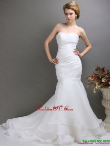 High End 2015 Strapless Wedding Dress with Brush Train