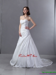 High End 2015 Sweetheart Appliques and Ruching Wedding Dress