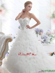 High End Beading Sweetheart White Bridal Gown with Ruffles and Brush Train
