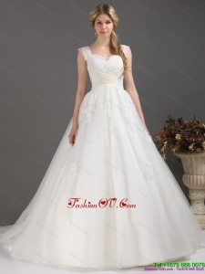 High End Sequines Lace Sweetheart White Wedding Dresses with Brush Train