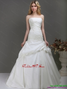 High End Strapless Wedding Dress with Ruching and Lace for 2015