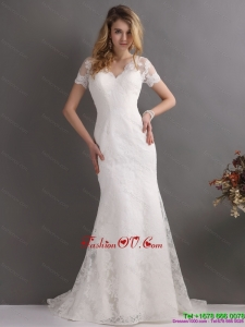 High End V Neck Lace Wedding Dress with Short Sleeves
