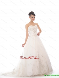 High End White Sweetheart Chapel Train Bridal Gowns with Beading and Appliques