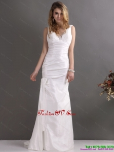 High End White V Neck Ruching Bridal Dresses with Brush Train