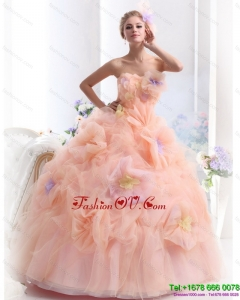 Multi Color Strapless Wedding Dresses with Hand Made Flower