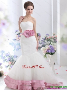 2015 Fashionable Strapless Mermaid Wedding Dress with Ruching and Hand Made Flowers