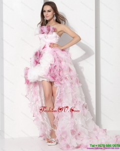 Dynamic Strapless High Low Wedding Dress with Ruffles for 2015