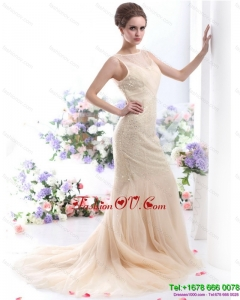 Gorgeous 2015 Beteau Champagne Wedding Dress with Sequins