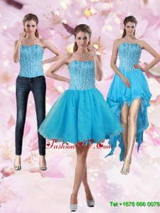 2015 Detachable Aqua Blue Strapless Prom Skirts with Beading